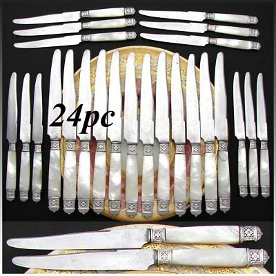 Antique French Sterling Silver & Mother of Pearl Handled 24pc Dinner Knife Set
