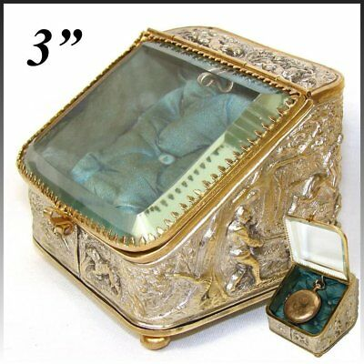 Antique French Napoleon III Era Pocket Watch Display Casket, Box: Hunt Theme