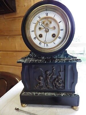 French Black Slate Green Marble Clock With A Solid Bronze Centre Plaque Stunning