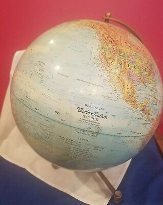 "Replogle World globe 12"" World Nation Series with metal tripod stand harp"