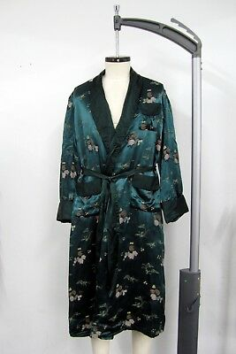 Vintage 1950s 1960s Chinese Thick 100% Silk Dressing Gown Smoking Jacket Robe
