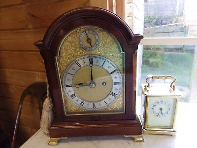 "Double Fusee Miniature Bracket Mantle Clock In Mahogany Only 11"" High Circl 1890"