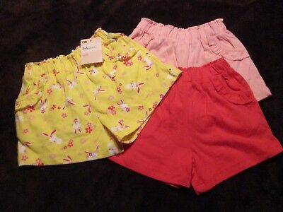 Girls Baby Clothes 3 Pairs Pretty Shorts Age 3-6 Months Bnwt