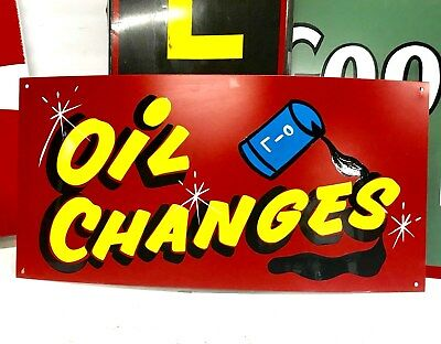 Vintage OIL CHANGES Sign Gas Oil Can Service Station Truck Car Lube Shop Tire
