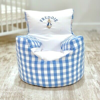 Childrens Kids Pre Filled Personalised Bean Bag Chair Seat Boys Peter Rabbit