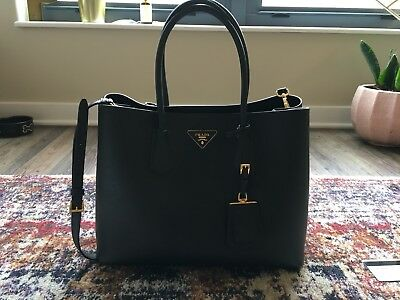 6729dc726b PRADA SAFFIANO CUIR Double Bag Medium-Large ALL BLACK -  2