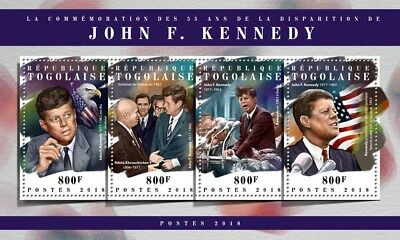 Togo 2018 MNH John F Kennedy 55th Memorial Anniv 4v M/S JFK US Presidents Stamps