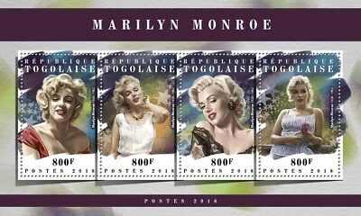 Togo 2018 MNH Marilyn Monroe 4v M/S Film Movie Stars Celebrities Stamps