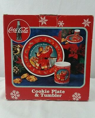 Vintage Coca- Cola  Coke Santa Cookie Plate And Tumbler 1998!