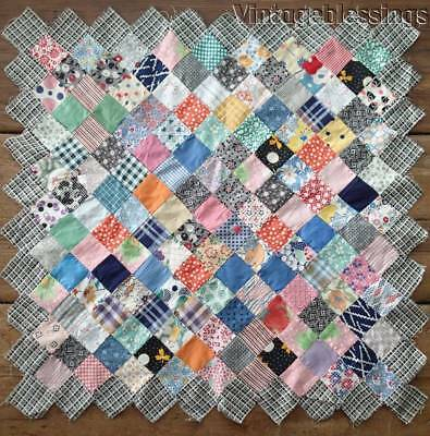 "Tiny Pieces! Vintage 30s Large 22"" QUILT BLOCK Make Doll or Table Quilt"