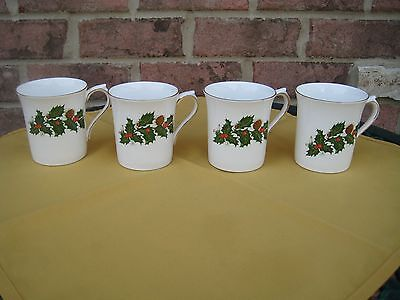 Set Of 4 Rosina Fine Bone China Coffee Mug Tea Cup Yuletide England