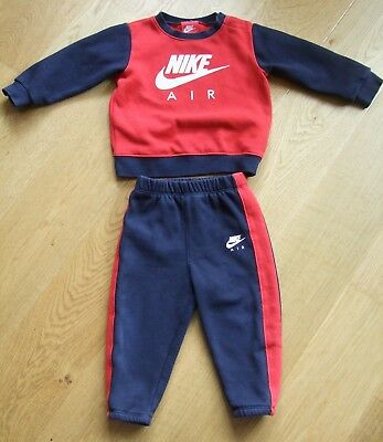 Baby Boys Nike Air Navy Blue And Red Tracksuit Joggers Top 12-18 Months