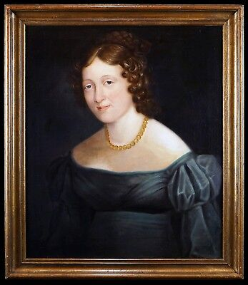 Large c.1840 English School Portrait of a Lady, Antique Oil on Canvas Painting