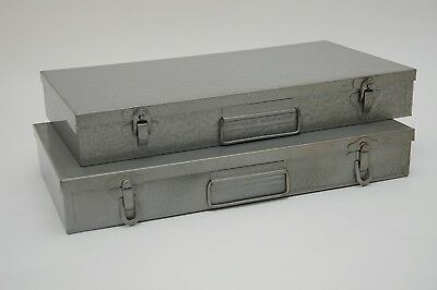 Lot of 2 Vintage Slide Storage Boxes-Industrial Metal-Photo Slide Coin Boxes