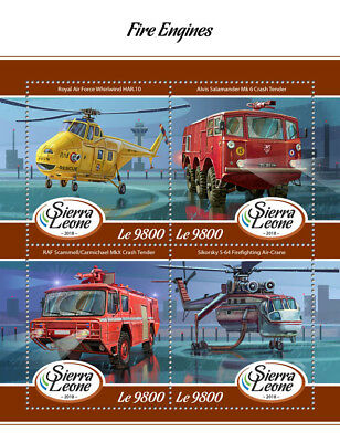 Sierra Leone 2018 MNH Fire Engines Sikorsky 4v M/S Trucks Helicopters Stamps