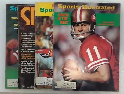 Lot of 4 1971-72 San Francisco 49ers Sports Illustrated Magazines John Brodie
