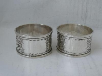 Pretty Pair of Antique Hand-Engraved Solid Silver Napkin Rings 1914/ H 2.6 cm