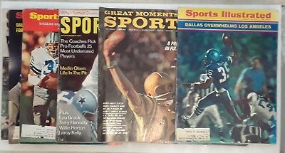 Lot of 7 1963-1972 Dallas Cowboys Roger Staubach Sports Illustrated Magazines SI