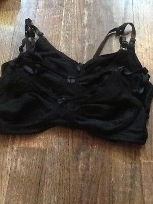 Lot of 3 Black Nursing Bras 38B
