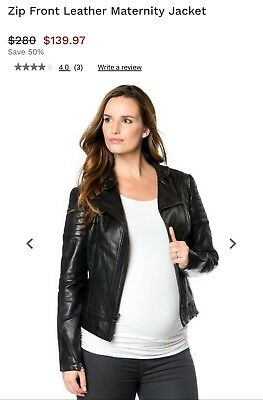 A Pea In The Pod Maternity ~ 100% Genuine Leather Jacket ~Black Small