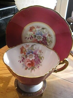Stunning red  Hammersley Tea Cup and Saucer Set footed  quaterfoil cup flowers