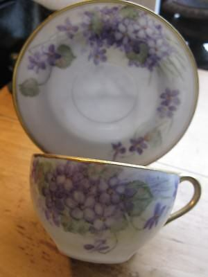 Vintage Austria tea cup and saucer Victoria IMPERIAL CROWN HAND PAINTED VIOLETS