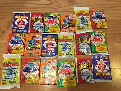 Huge Lot Of Old Baseball Cards Unopened Packs fr Wax Box. Vintage 45 Card Lot