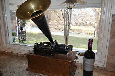 Antique Circa 1905 Beautiful Working Edison Home Phonograph W/ Horn-Works Great!