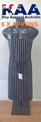 6 X Butchers Apron Bib Black White Vertical Pinstripe, Smoking, American BBQ