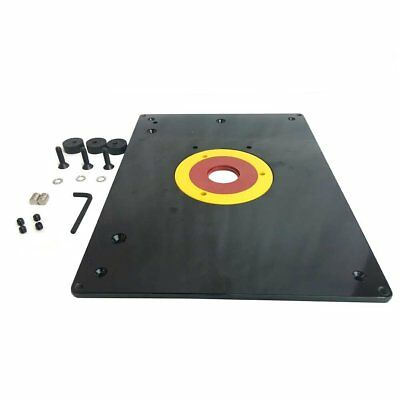 Router base plate insert table mount 9 x 12 snap out rings big horn 18101 9 inch x 12 inch router table insert plate with guide greentooth Image collections