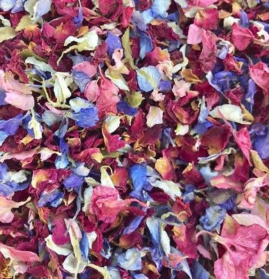 Natural Biodegradable Wedding Confetti Red Rose Mix Petals, Dried Vintage Flower