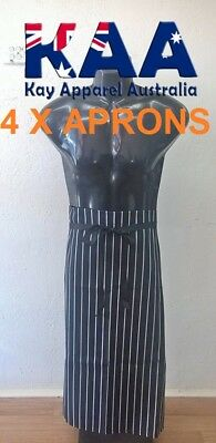 4 X Butchers Apron Waist Black White Vertical Pinstripe, Smoking, American BBQ