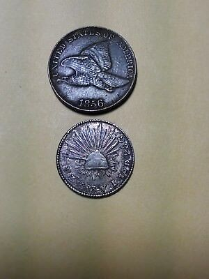 MEXICO 1863  Zs VL SILVER 1/2 REALE. CAP AND RAYS TYPE