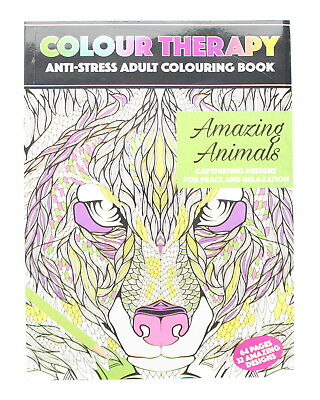 Colour Therapy Adult Colouring Book - A4 Anti-Stress Amazing Animals - 64 Pages