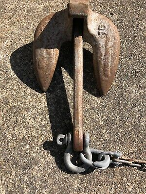 Vintage15Lb ANCHOR With Chain Marine Nautical Ship Boat Maritime FREE SHIPPING