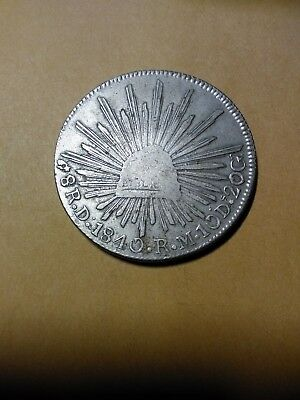 MEXICO 1840 Do RM (D-DOT) SILVER 8 REALES. CAP AND RAYS TYPE.