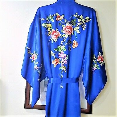 BLUE WITH floral flowers Embroidered Silk chinese Kimono robe vintage textiles