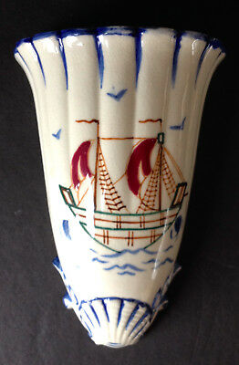 Vintage Wall Pocket with Ship and Shells  Made in Japan