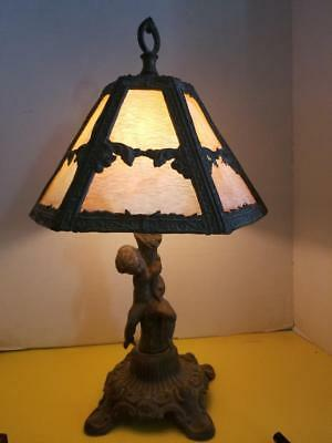 Antique Cast Iron Cherub Lamp With Stained Glass Shade