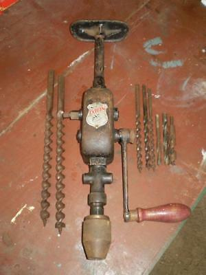 Vintage German geared hand drill by Ixion &  assorted drill bits (free post)