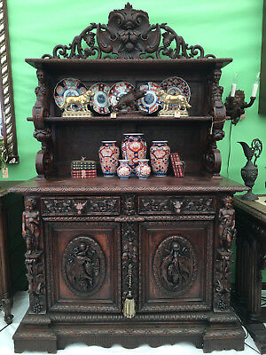 Antique French Carved Oak Hunt Cabinet Sideboard Renaissance Server Mermaid