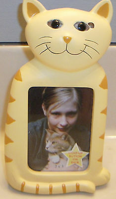 Cute Cat Shaped Picture  Frame  Smiling Yellow Cat Perfect  for cat picture