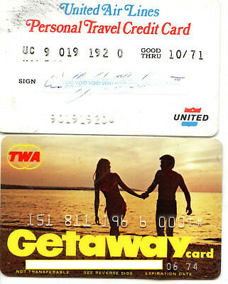 2 Vintage OBSOLETE CHARGE Credit Cards United AIRLINES TRANS WORLD AIR LINE TWA