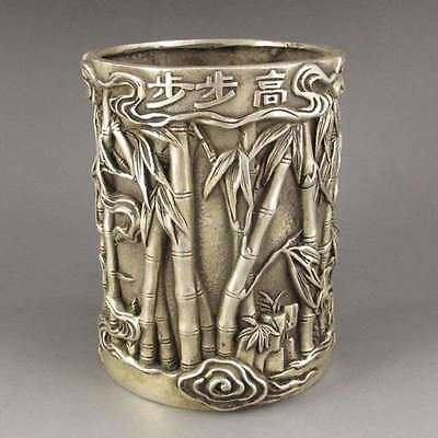 Chinese old copper plating silver Carving  statute bamboo Brush Pot pencil vase