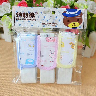 3pcs Baby Kid Snappi Diaper Fixing Fasteners Pin Cotton Clip Nappy Buckle Holder
