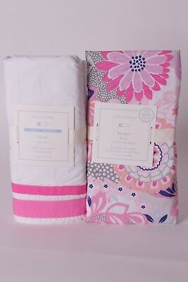 NWT Pottery Barn Kids Harper Bright Pink crib skirt & floral fitted sheet