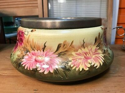 Antique English Victorian Hand Decorated Floral Bowl with Silver Collar