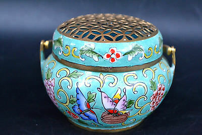 Exquisite Chinese Cloisonne Carvings Butterfly Incense Burner Collection