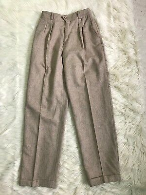 Liz Claiborne Wool Lined High Waisted Boho Trousers Pants Vintage Retro Beige