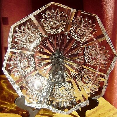 Bohemian Cut Glass Crystal Ashtray